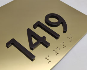 Polished Stainless Steel Room Number Sign Plate Hotel ADA Sign Manufacturer